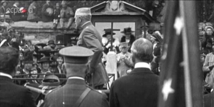 Discours de John J. Pershing, 4 juillet 1917  (France 3 / Culturebox / capture d'écran)