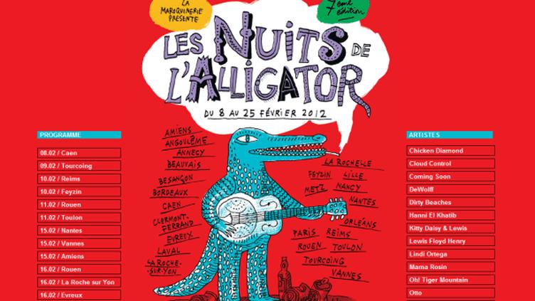Page d'accueil du site des Nuits de l'Alligator  (DR)