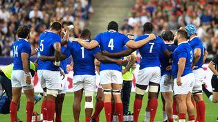 Des membres de l'équipe de France de rugby, le 30 août 2019 au Stade de France. (BERTRAND GUAY / AFP)