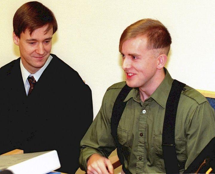 Varg Vikernes (à dr.) et son avocatJohn Christian Elden, en 1997. (ROAR VESTAD / NTB SCANPIX)