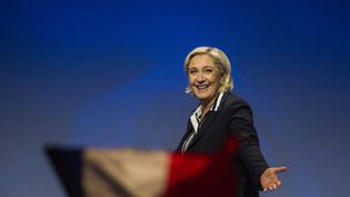 Marine Le Pen lors d'un discours à Nice (Alpes-Maritimes), le 27avril 2017. (JEAN-LUC THIBAULT / CITIZENSIDE / AFP)