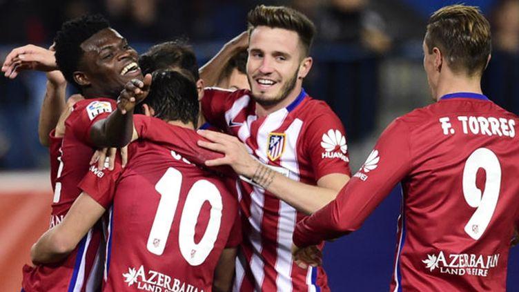 La joie des joueurs de l'Atletico Madrid