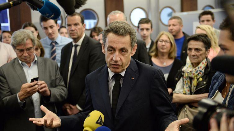 Nicolas Sarkozy, le 28 mai 2015, au siège de l'UMP à Paris. (STEPHANE DE SAKUTIN / AFP)