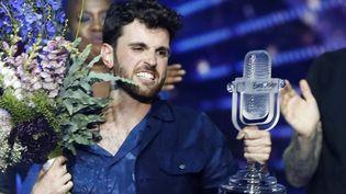 Duncan Laurence, le vainqueur de l'Eurovision, sur la scène d'Expo Tel Aviv, le 19 mai 2019. (JACK GUEZ / AFP)