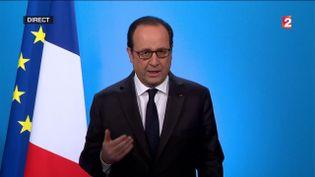 François Hollande s'exprime depuis l'Elysée, à Paris, le 1er décembre 2016. (FRANCEINFO)