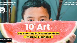 """Affiche du Salon du livre et de la presse jeunesse virtuel de Montreuil""""10e Art, les chemins buissonniers de la littérature jeunesse"""", 8 avril 2020 (SLPJ 2020)"""