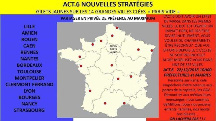 """Carte partagée sur Facebook en vue de """"l'acte 6"""" du mouvement des """"gilets jaunes"""", le 22 décembre 2018. (DR)"""