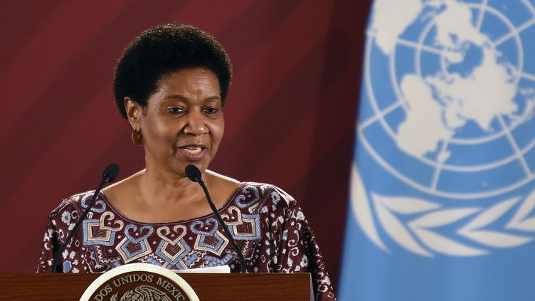 La directrice exécutive de l'ONU-Femmes, Phumzile Mlambo-Ngcuka, le 29 mai 2019 lors d'une conférence de presse à Mexico (Mexique). (ALFREDO ESTRELLA / AFP)