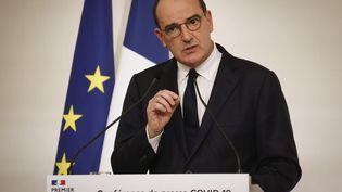 Jean Castex, le Premier ministre, lors de sa conférence de presse sur les nouvelles mesures sanitaires pour endiguer la propagation du coronavirus, le 22 octobre 2020 à Paris. (LUDOVIC MARIN / AFP)