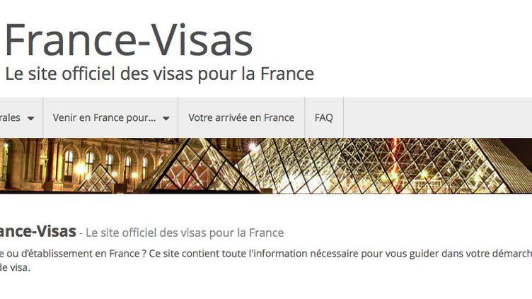 La page d'accueil de la plateforme France-Visas, qui permet d'enregistrer les demandes de visas à destination de la France. (Capture d'écran)
