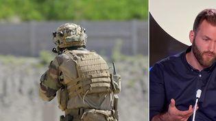 """Le caporal-chef Maxime Blasco a été tué au combat le vendredi 24 septembre au Mali lors d'une """"opération de reconnaissance"""". L'ancien commando de marine, Louis Saillans, est l'invité du JT de 23 Heures de Franceinfo (CAPTURE ECRAN / FRANCEINFO)"""