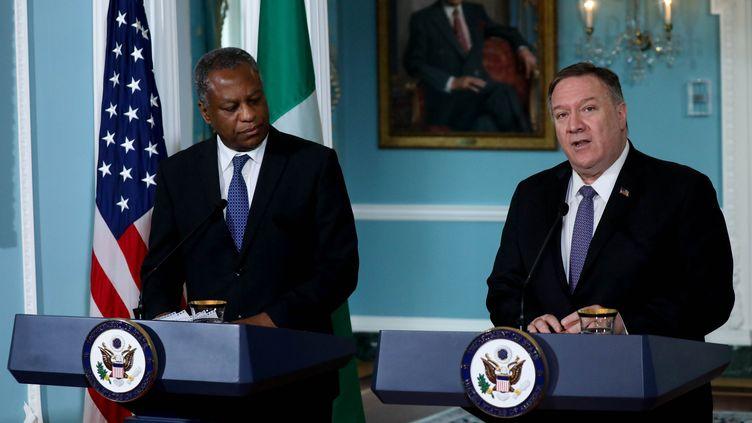 Le secrétaire d'Etat américain Mike Pompeo et le ministre nigérian des Affaires étrangères Geoffrey Onyeama tiennent une conférence de presse conjointe à Washington, le 4 février 2020. (YASIN OZTURK / ANADOLU AGENCY)