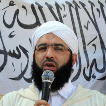 Le prédicateur salafiste marocain, Hassan Kettani, lors d'une manifestation à Salé, le 21 Septembre 2012. ( AFP PHOTO/FADEL SENNA )