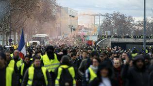 """Manifestation de """"gilets jaunes"""", à Lyon, le samedi 9 février 2019. (ALEX MARTIN / AFP)"""
