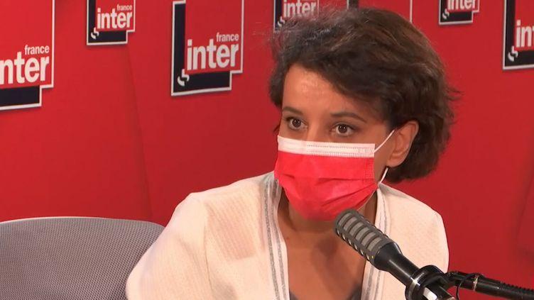 Najat Vallaud-Belkacem, tête de liste PS aux élections régionales en Auvergne-Rhône-Alpes, invitée de France Inter mardi 20 avril 2021. (FRANCE INTER / RADIO FRANCE)
