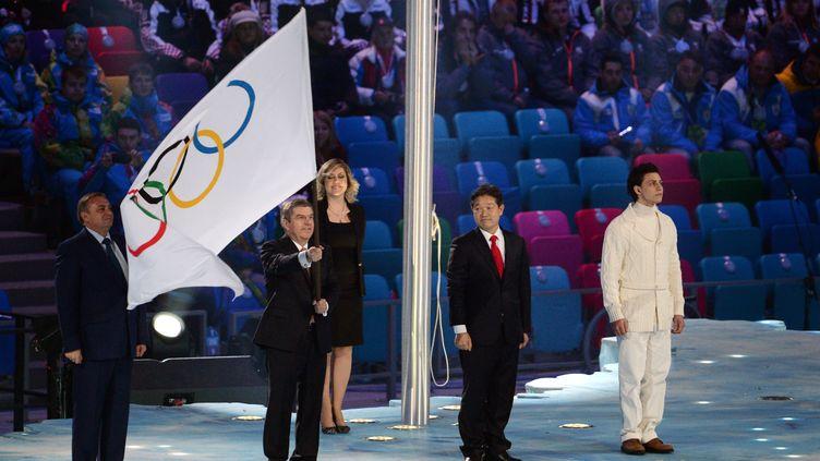 Le président du CIO Thomas Bach lors de la cérémonie de clôture des Jeux olympiques de Sotchi (Russie), le 23 février 2014. (DPPI / AFP)