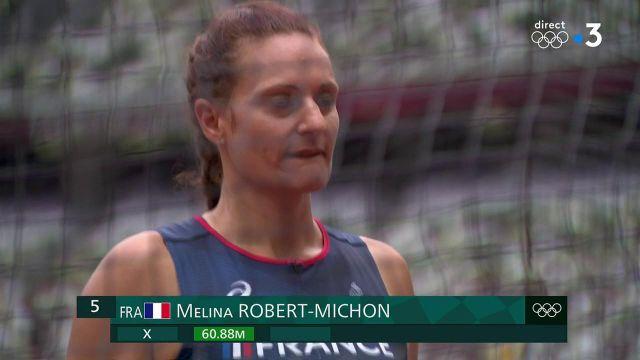 Avec un meilleur lancer de disque à 60.88 m, Mélina Robert-Michon est en ballotage pour la qualification en finale. Il faudra attendre les résultats du second groupe.