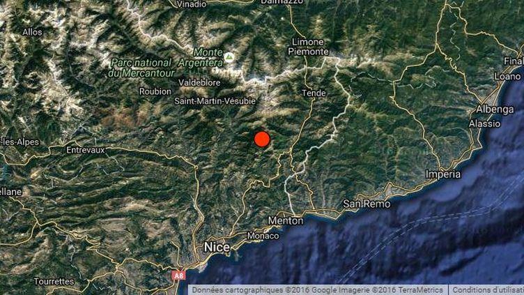 L'épicentre du séisme survenu le 3 septembre 2016 dans les Alpes-Maritimes, localisé par leRéseau national de surveillance sismique. (Google Maps / renass)