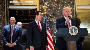 Donald Trump lors de sa conférence de presse, mardi 15 août 2017 à la Trump Tower de New York. (DREW ANGERER / GETTY IMAGES NORTH AMERICA / AFP)