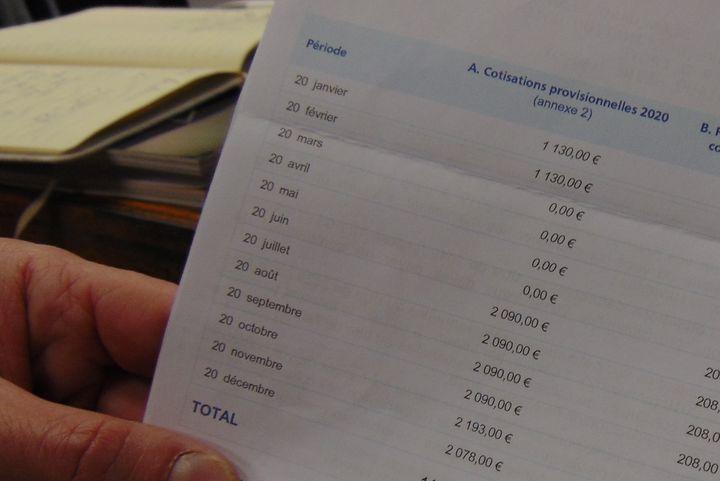 Durant le confinement, l'Urssaf a reporté ses échéances mensuelles. Mais Jean-François Blanchard devra rattraper les sommes à compter du mois de juillet. (FABIEN MAGNENOU / FRANCEINFO)