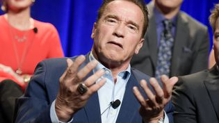 """ArnoldSchwarzeneggerlors d'une conférence sur l'émission """"The New Celebrity Apprentice"""", en Californie (Etats-Unis) le 9 décembre 2016. (RICHARD SHOTWELL / AFP)"""