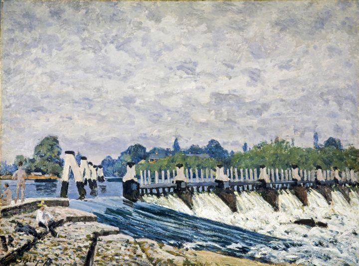"Alfred Sisley, ""Molesey Weir, Hampton Court, Morning"", 1874, National Galleries of Scotland (Edinburgh UK)  (National Galleries of Scotland (Edinburgh UK))"