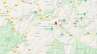 Massif du Mont-Blanc (Haute-Savoie). (CAPTURE D'ECRAN GOOGLE MAPS)