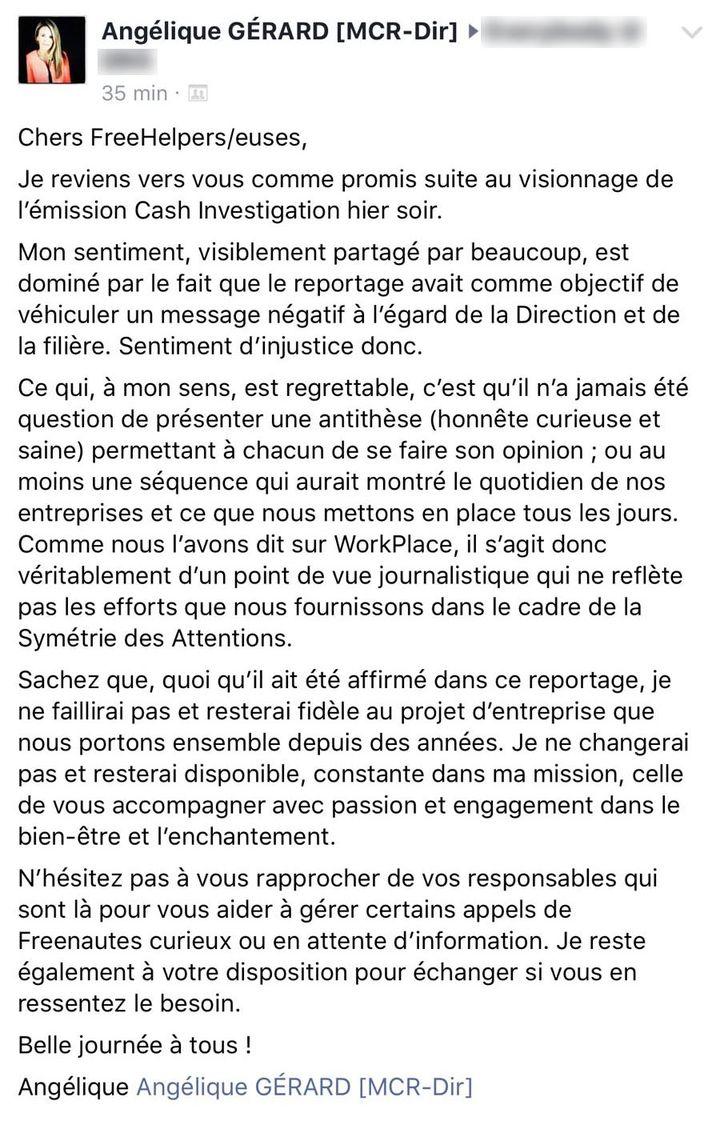 """La réponse d'Angélique Gérard, la patronne des call-centers de Free, au reportage """"Cash Investigation"""". (FRANCEINFO)"""