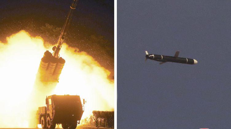 Des photosnon datées communiquées par l'agence de presse nord-coréenne KCNA le 13 novembre 2021 et présentées comme celles du missile testé les 11 et 12 septembre. (KCNA VIA KNS / AFP)