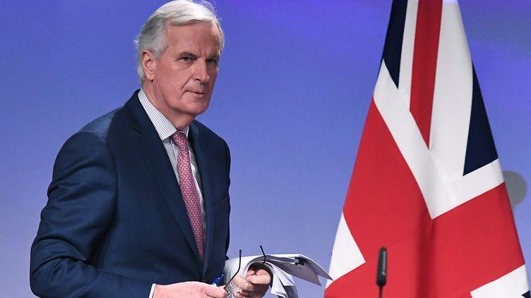 Michel Barnier,le négociateur en chef du Brexit pour l'Union européenne, le 19 mars 2018 à Bruxelles. (EMMANUEL DUNAND / AFP)