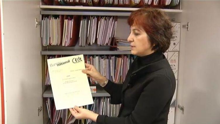 Anousheh Karvar, secrétaire nationale chargée de la trésorerie de la CFDT, le 7 décembre 2011, à Paris. (BENOÎT ZAGDOUN - FTVi / AGNÈS BUN ET PASCAL CARON - FRANCE 2)