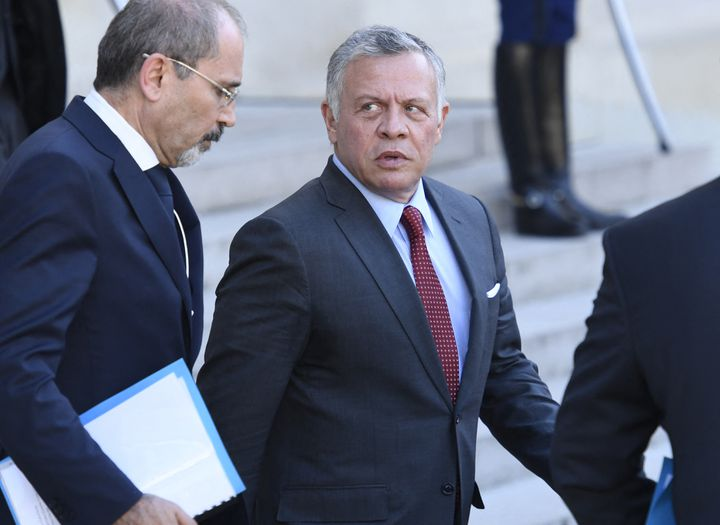 Le roi Abdallah II de Jordanie à l'issue d'une rencontre avec Emmanuel Macron à l'Elysée (Paris) le 15 mai 2019 (BERTRAND GUAY / AFP)