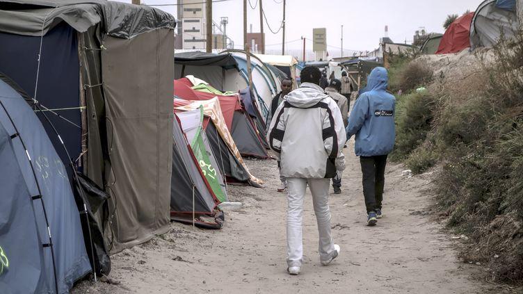 """Des migrants marchent dans la """"jungle"""" de Calais (Pas-de-Calais), le 7 octobre 2016. (PHILIPPE HUGUEN / AFP)"""
