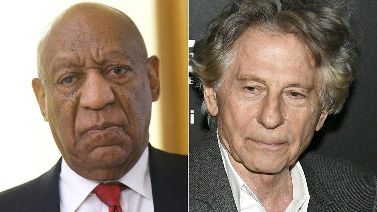 L'acteur Bill Cosby et le réalisateur Roman Polanski, tous deux exclus par l'académie des Oscars le 3 mai 2018. (MARK MAKELA / AFP)