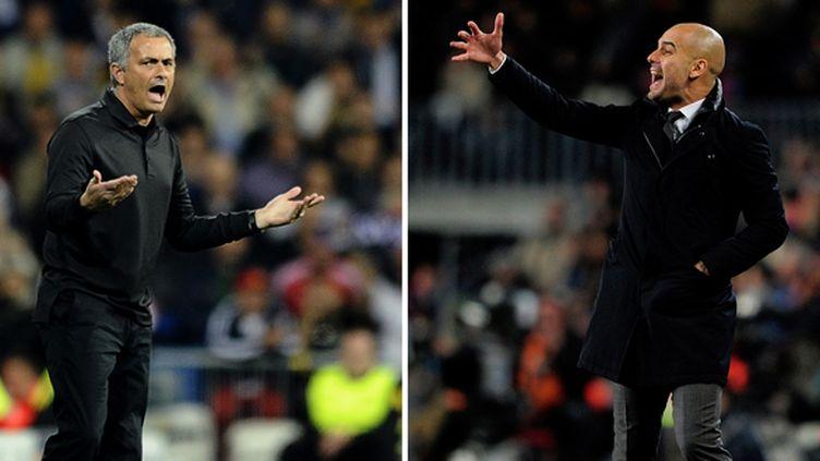 José Mourinho et Pep Guardiola.   (PIERRE-PHILIPPE MARCOU-JOSEP LAG / AFP)