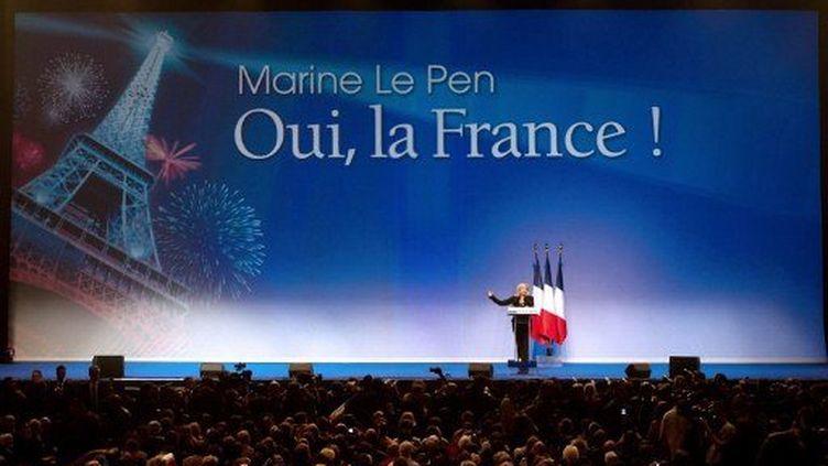 Marine Le Pen en meeting au Zénith de Paris (BERTRAND LANGLOIS / AFP)