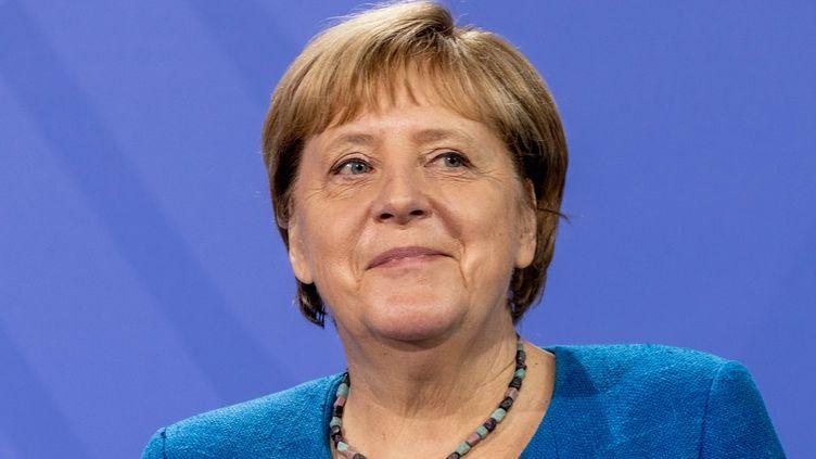 Angela Merkel prend la parole lors de la remise du rapport annuel du conseil national de contrôle de la réglementation, le 16 septembre à Berlin. (FILIP SINGER / POOL / EPA POOL)