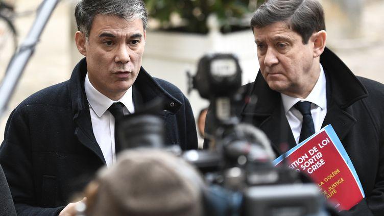 Olivier Faure, premier secrétaire du PS, avec Patrick Kanner à Matignon, le 3 décembre 2018. (STEPHANE DE SAKUTIN / AFP)
