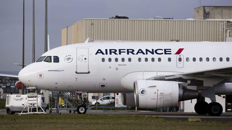 Un avion de la compagnie Air France sur le tarmac de l'aéroport Roissy-Charles de Gaulle, le 30 novembre 2017. (MAXPPP)