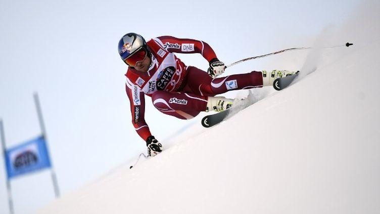 Aksel Lund Svindal lors du Super G de Val Gardena (Italie) (OLIVIER MORIN / AFP)