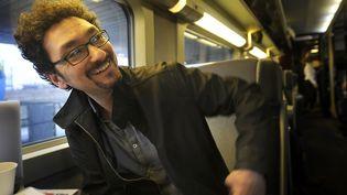 David Foenkinos dans le train de la Foire du Livre entre Paris et Brive  (PHOTOPQR/LA MONTAGNE Quentin Reix )