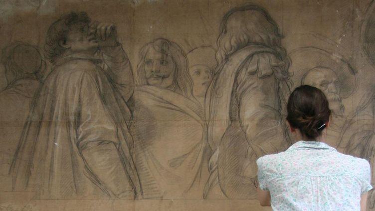 Restauration d'un carton de Le Brun au Louvre en 2014  (Musée du Louvre, département des Arts graphiques, atelier de restauration)