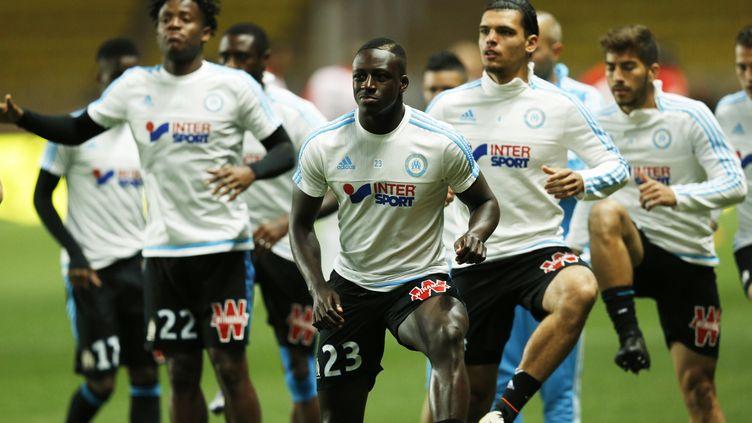 Les joueurs de l'Olympique de Marseille pour le match amical face à l'Olympiacos (VALERY HACHE / AFP)