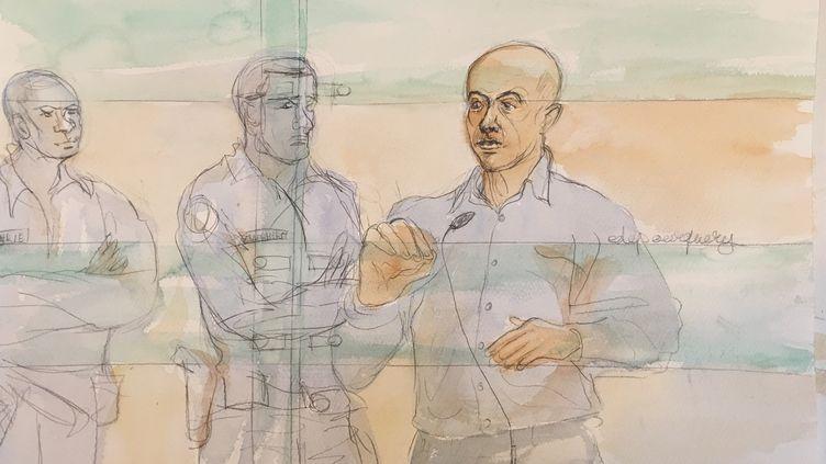 Redoine Faïd devant la cour d'assises de Paris le 2 mars 2016. (ELISABETH DE POURQUERY / FRANCETV INFO)