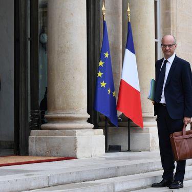 Jean-Michel Blanquer arrive à l'Elysée, le 18 mai 2017, avant le premier Conseil des ministres du gouvernement Philippe. (CHRISTOPHE ARCHAMBAULT / AFP)