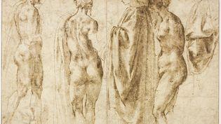 """""""Groupe de quatre figures debout et un drapé"""" Michel-Ange  (RMN(DomainedeChantilly) / Michel Urtado)"""