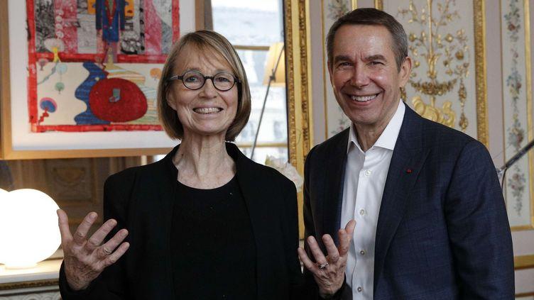 Françoise Nyssen et Jeef Koons, janvier 2018  (: Christophe Ena/AP/SIPA)