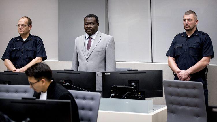 Le Centrafricain Patrice-Edouard Ngaïssona, dirigeant des milices anti-balaka et ancien membre de Confédération africaine de football, lors de sa première comparution devant la Cour pénale internationale (CPI) à La Haye, le 25 janvier 2019. (Koen van Weel / POOL/ AFP)