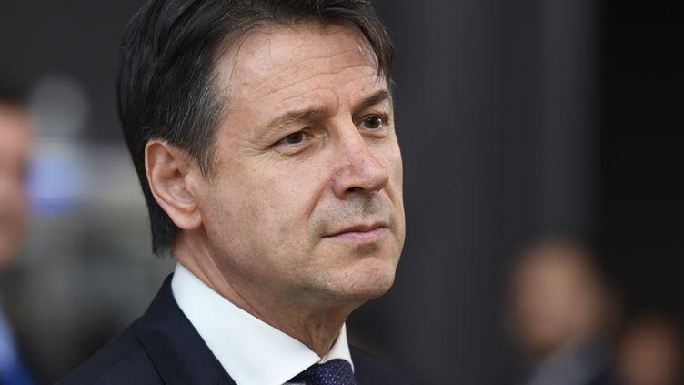 Giuseppe Conte, le 2 juillet 2019, lors d'un sommet européen à Bruxelles. (BERTRAND GUAY / AFP)