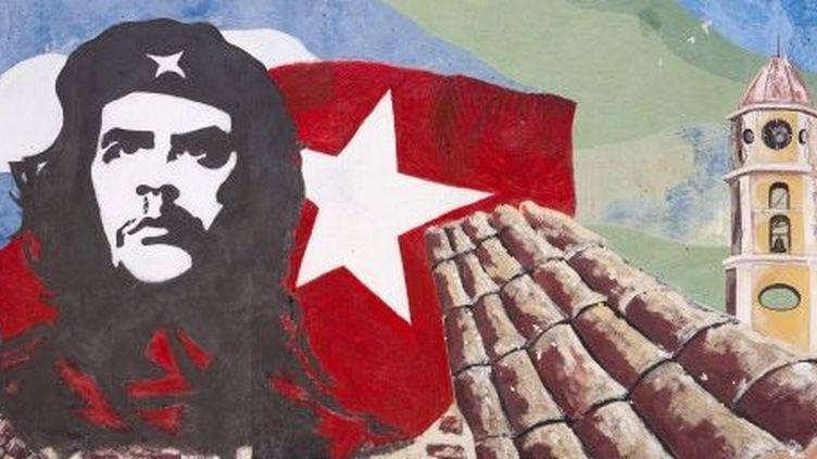 Trinidad de Cuba : représentation de Che Guevara sur le mur d'une école. (Alberto Diaz Guttierez alias Korda)